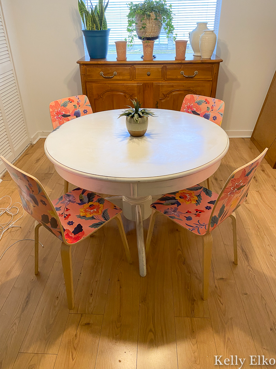 Sylvie Tasmin Chairs Anthropologie - these add such a fun pop of color and pattern to this kitchen kellyelko.com