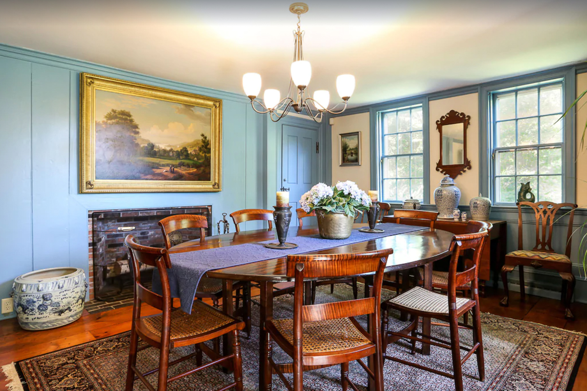Beautiful blue paint in this historic dining room kellyelko.com
