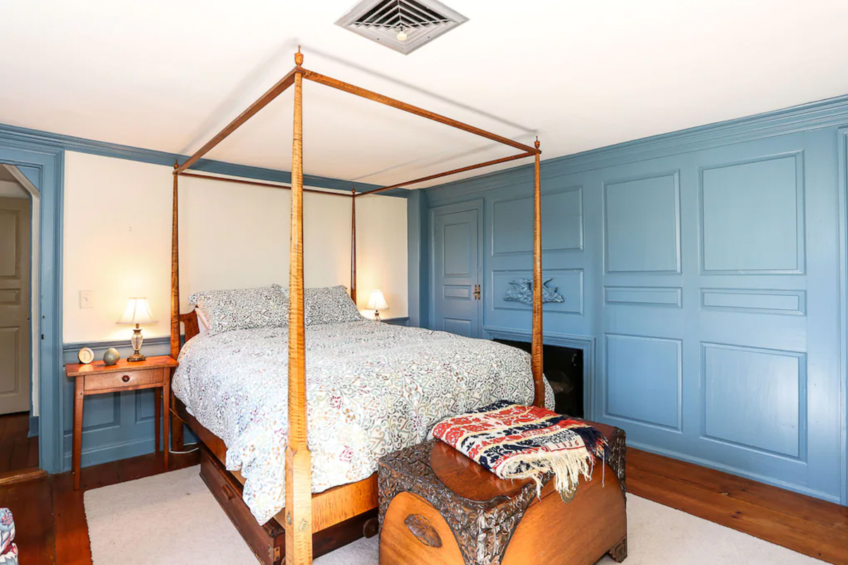 Beautiful blue bedroom with tiger maple four poster bed kellyelko.com