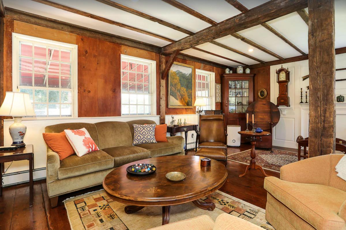 Love the original exposed wood beams in this old home kellyelko.com