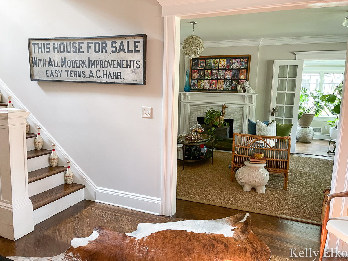 Love this huge antique sign for a unique look in home decor kellyelko.com