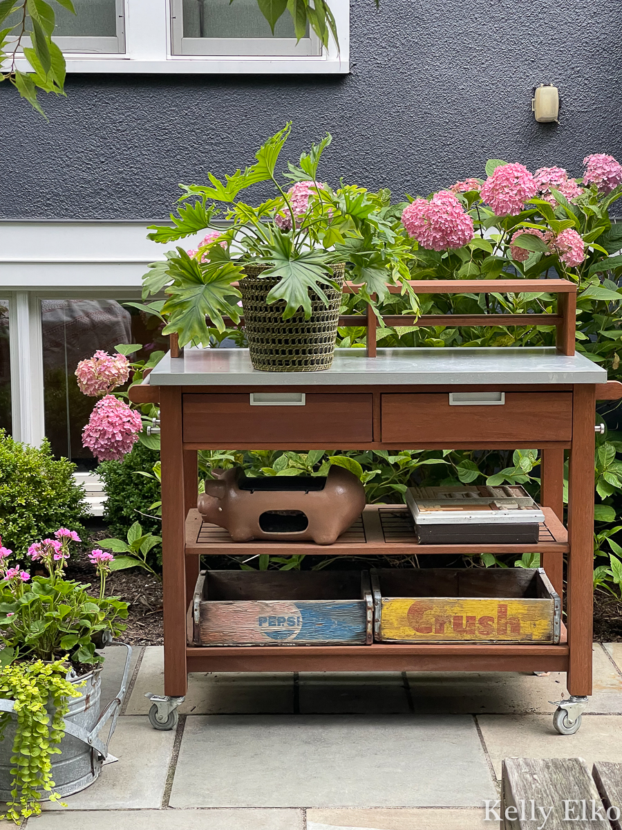 Love this potting shed / bar cart for outdoor parties kellyelko.com