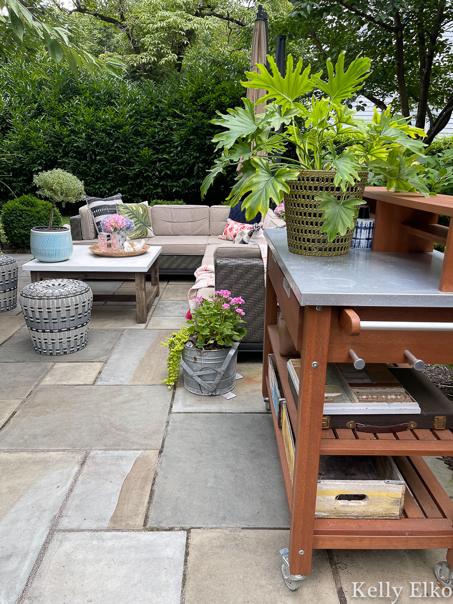 Love this patio with outdoor potting shed turned bar cart kellyelko.com