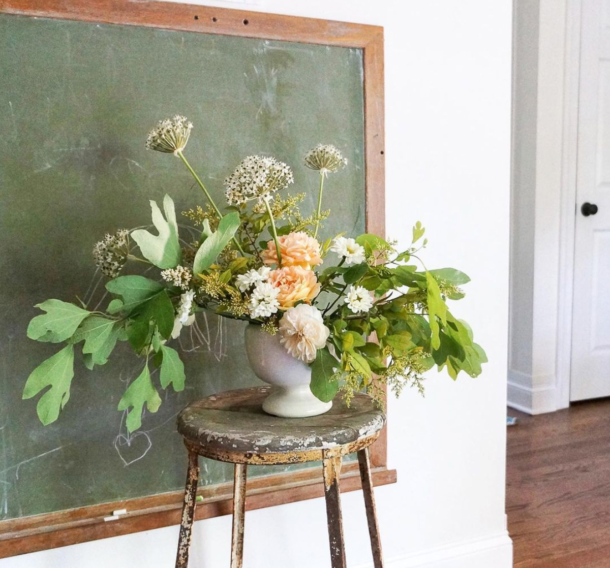 Vintage green chalkboard is the perfect backdrop for a bouquet of fresh flowers kellyelko.com