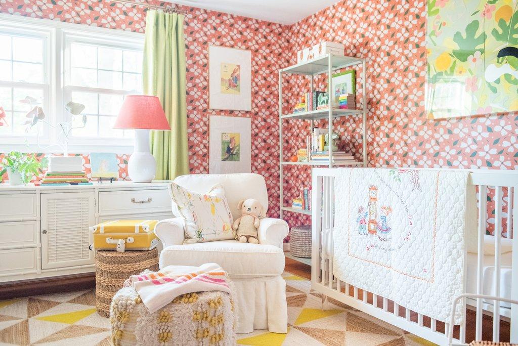 Fun girls nursery with pink floral wallpaper kellyelko.com