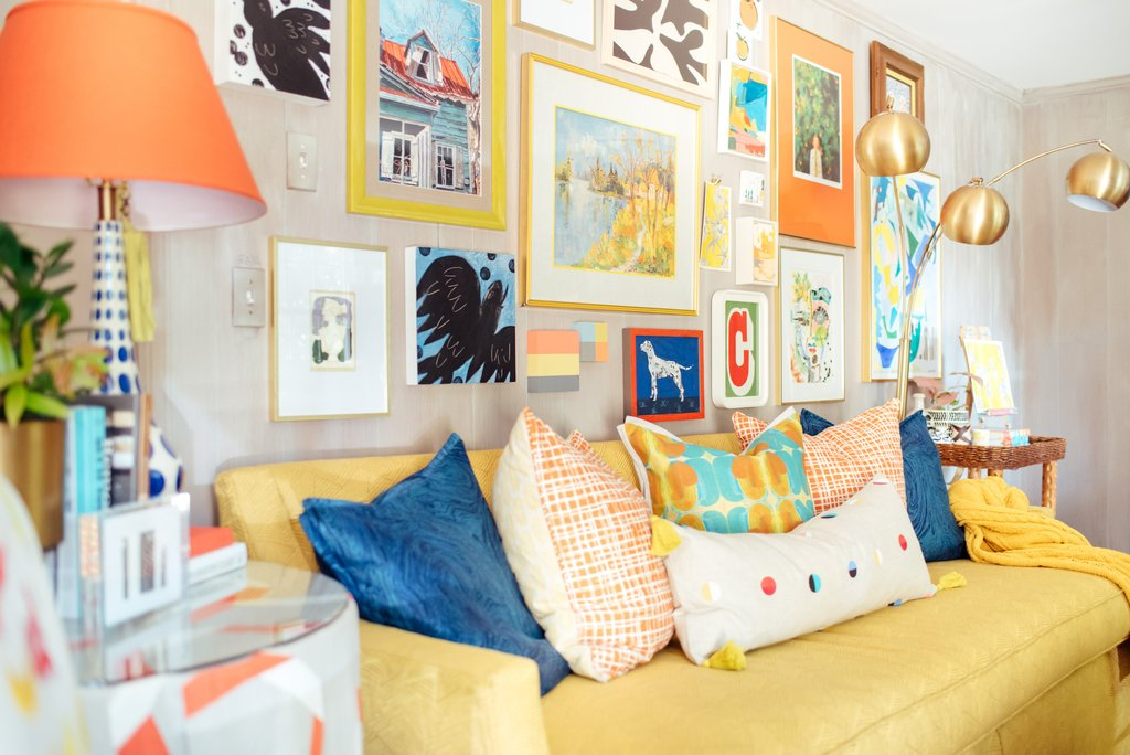 Love this colorful and eclectic gallery wall kellyelko.com