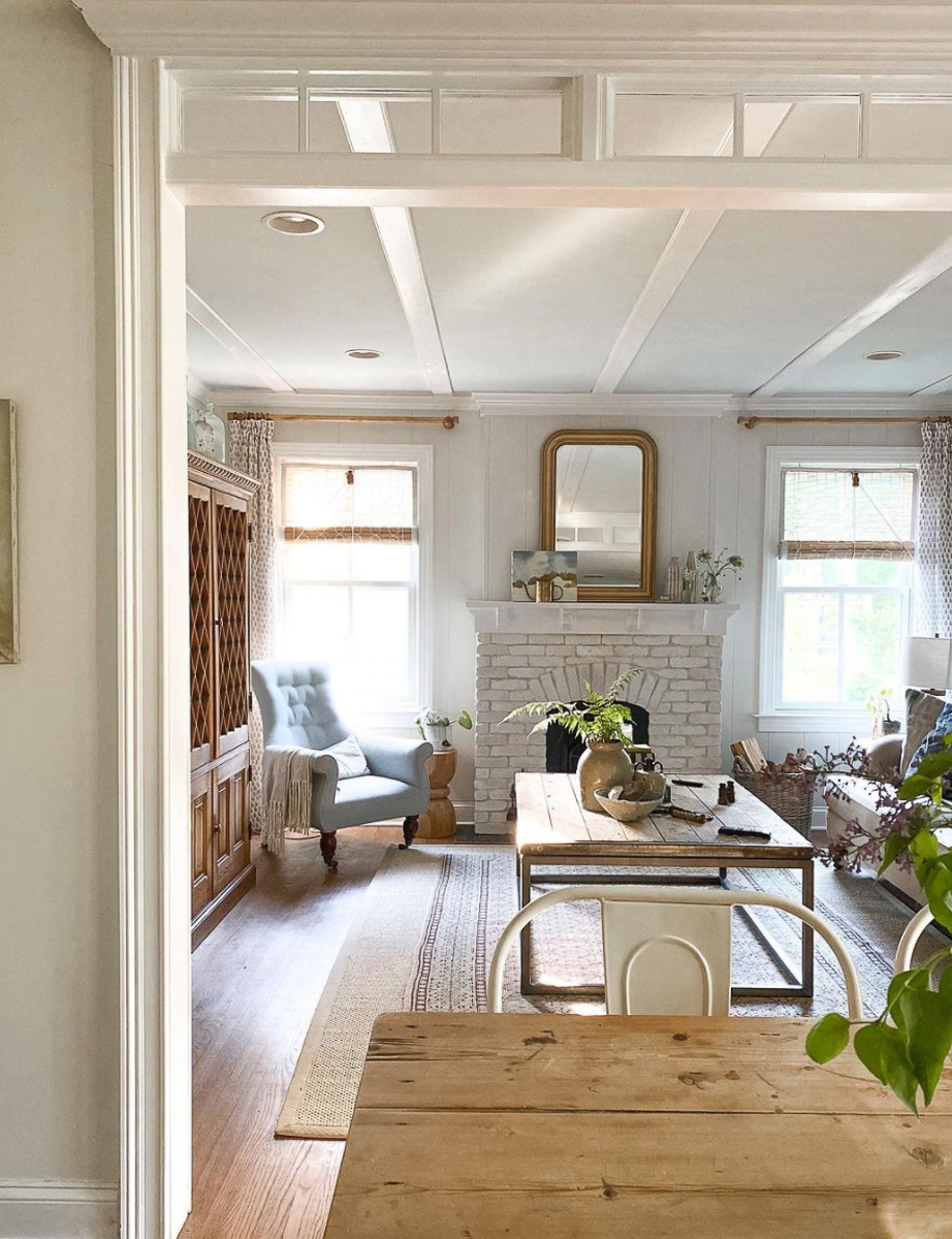 This farmhouse is filled with DIY ideas like the transom, planked walls and even the new fireplace kellyelko.com