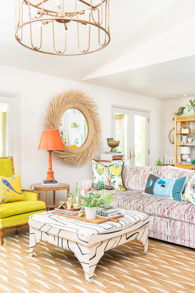 Eclectic Home Tour of Amanda Louise Interiors - love this colorful mix of pattern and color in this cozy family room