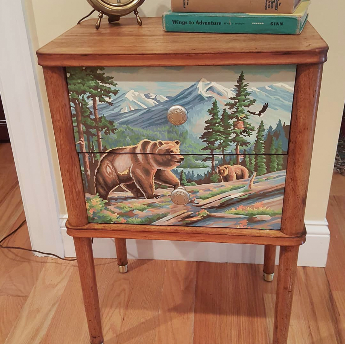 Upcycle a vintage paint by number onto a piece of furniture