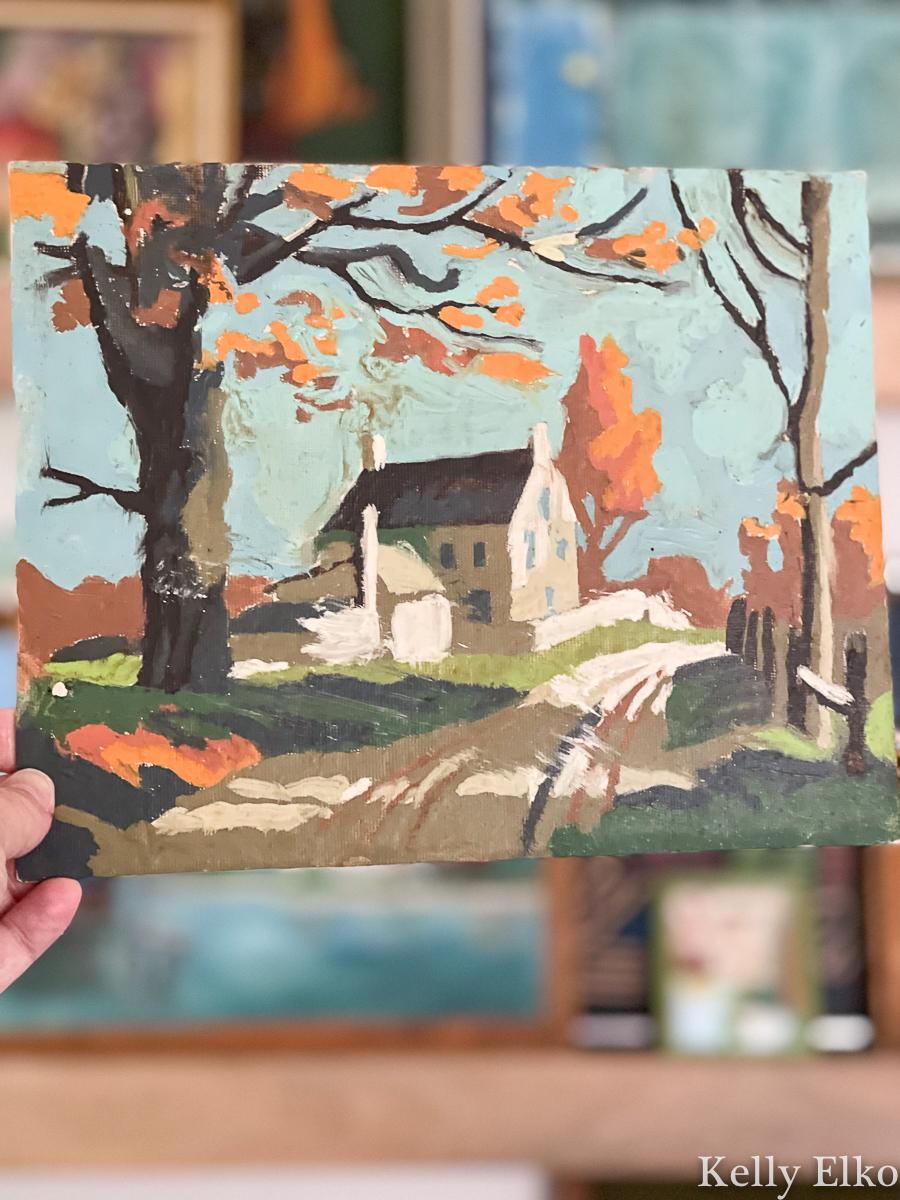 Vintage Paint By Number landscape barn kellyelko.com