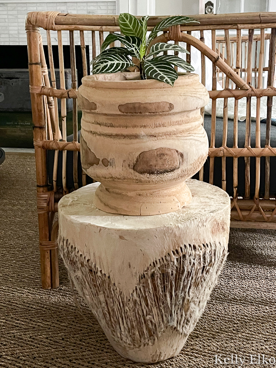 Vintage African cowhide drum makes a cute little plant stand kellyelko.com