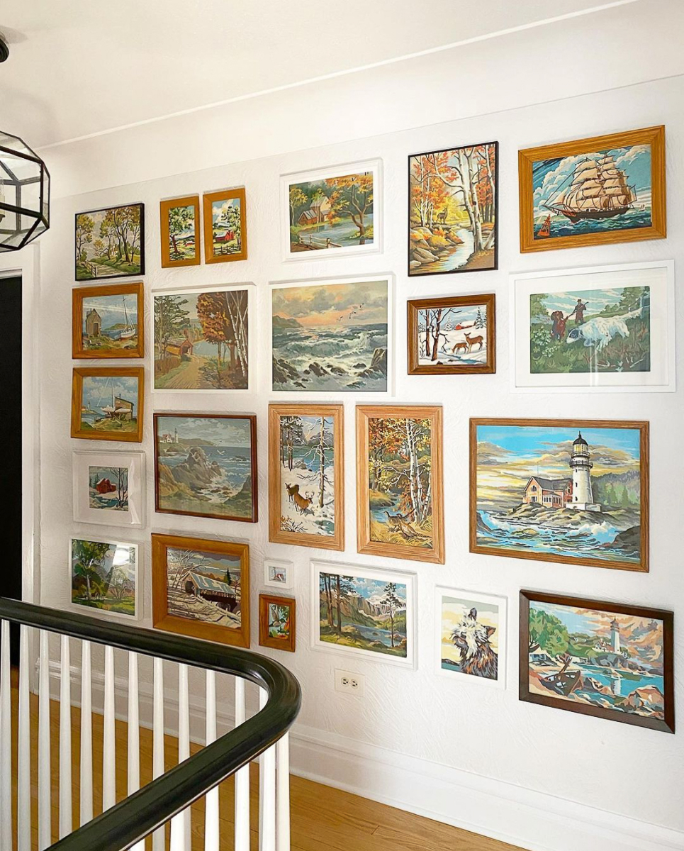 Paint by numbers gallery walls - love this eclectic mix of paintings and frames kellyelko.com