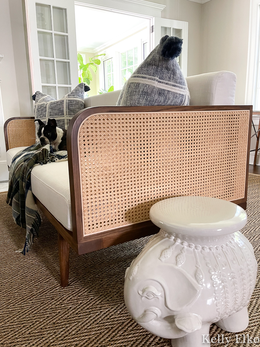 Gorgeous mid century cane sofa and an eclectic living room tour kellyelko.com