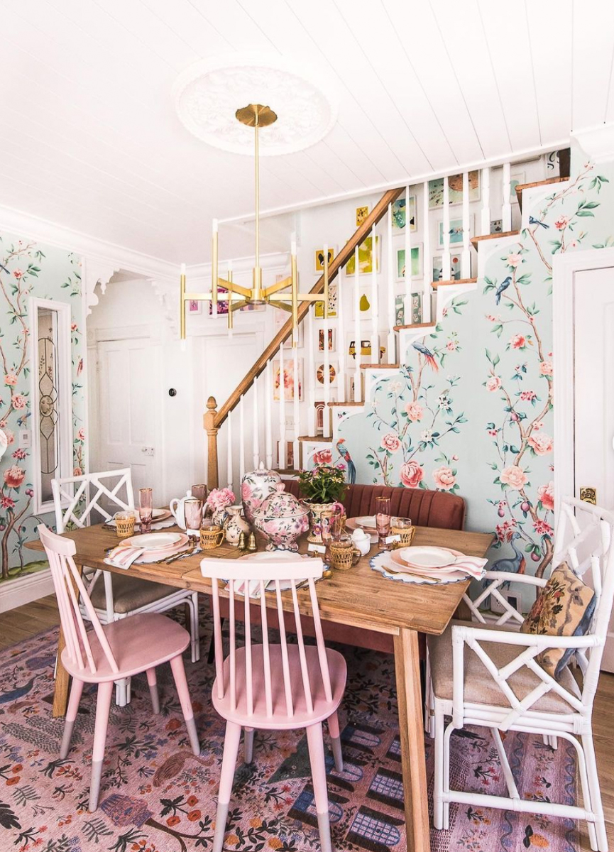 Colorful kitchen with whimsical chinoiserie wallpaper in blue and pink kellyelko.com
