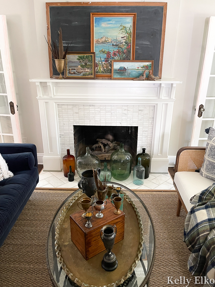 Stunning fall mantel with vintage art and loving cups kellyelko.com