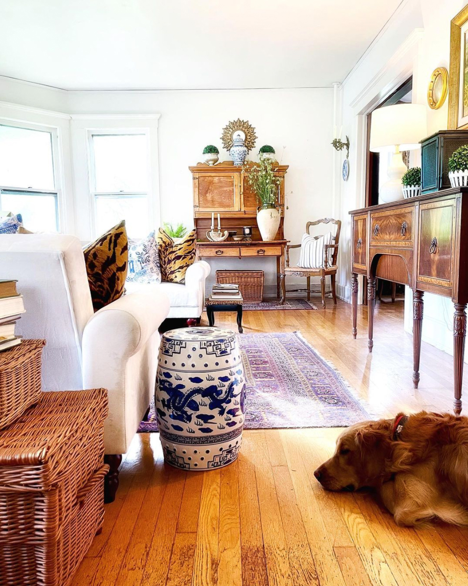 Beautiful mix of antique furniture in this farmhouse tour kellyelko.com - love the old secretary