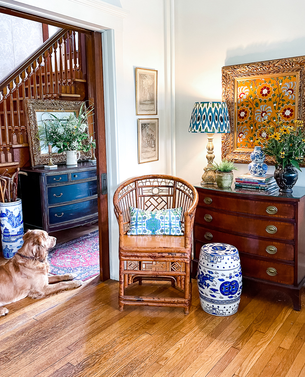 Tour this antique filled farmhouse - love the way she mixes furniture kellyelko.com
