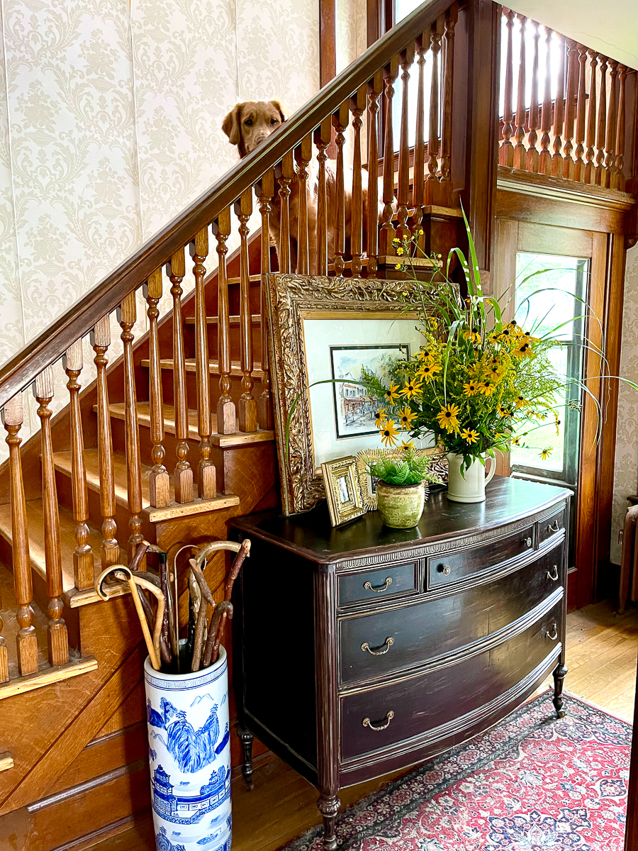 Tour this old farmhouse with beautiful entry filled with antiques kellyelko.com
