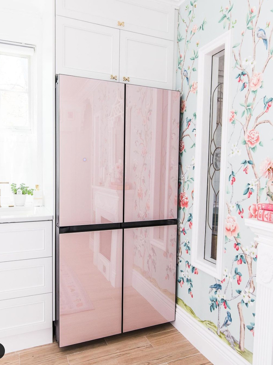Gorgeous pink Samsung refrigerator in this colorful cottage kitchen kellyelko.com