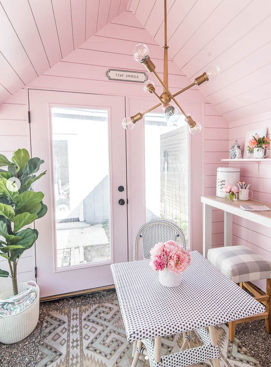 Love the interior of this charming pink she shed kellyelko.com