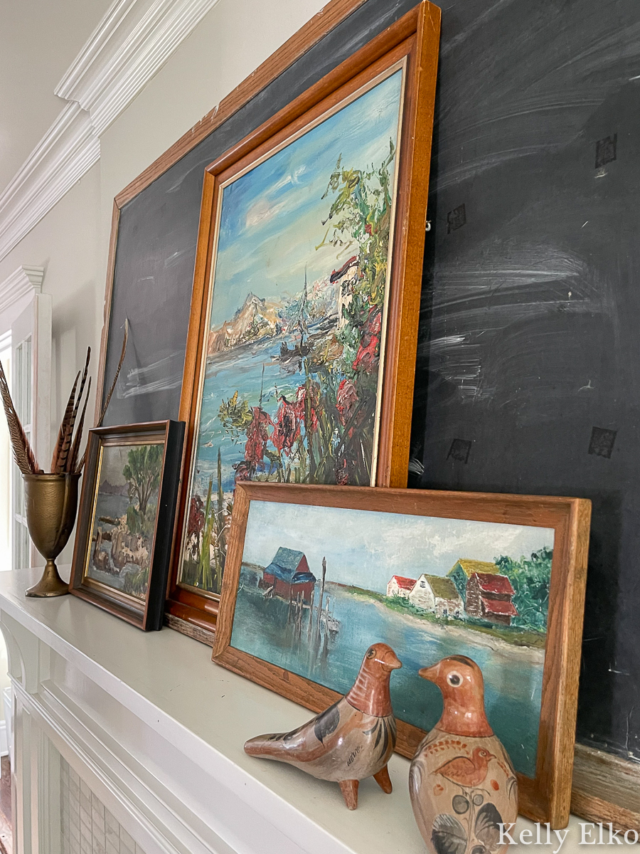 Vintage seascape painting mantel - perfect for fall kellyelko.com