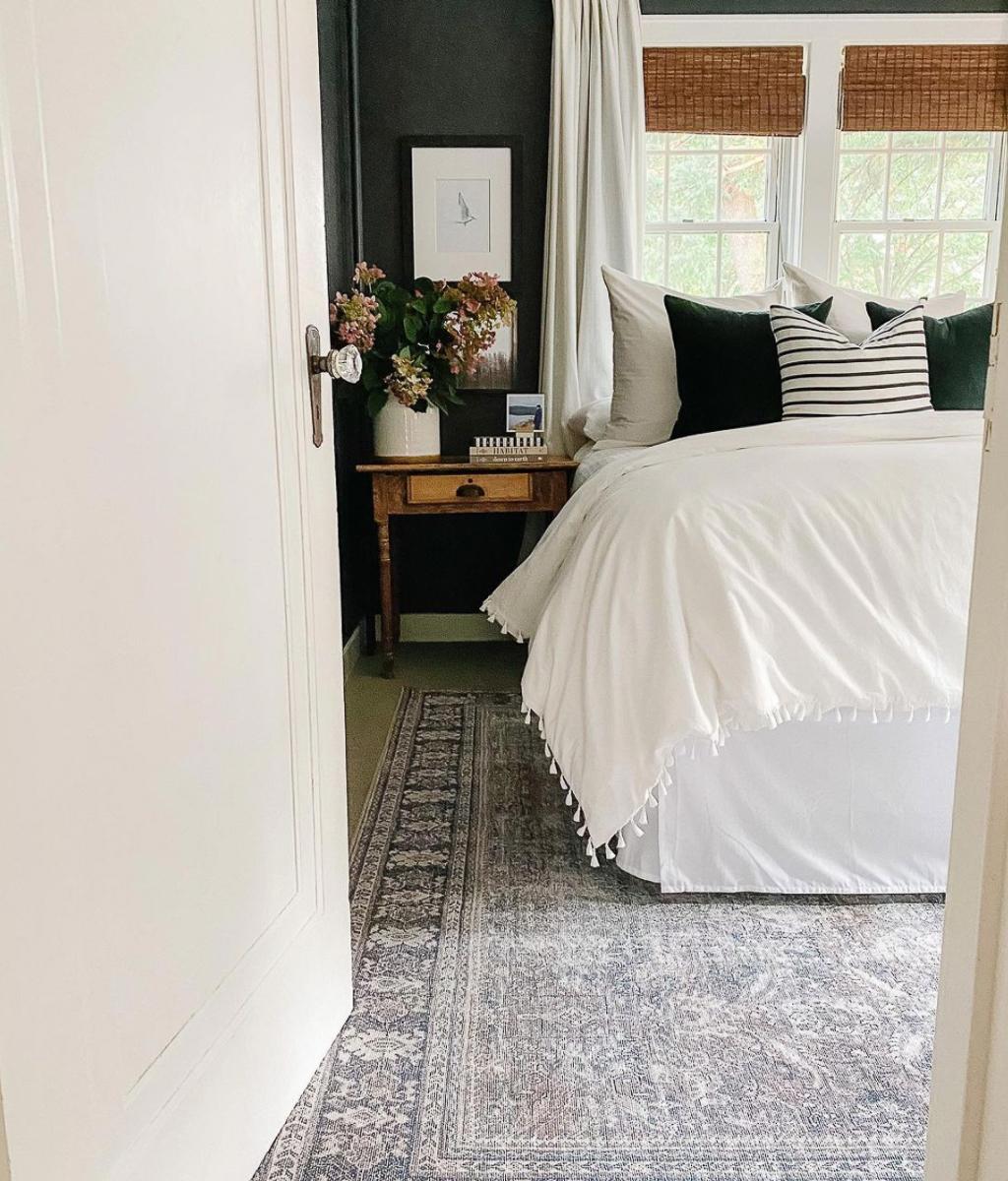 Black walls add drama to this master bedroom kellyelko.com