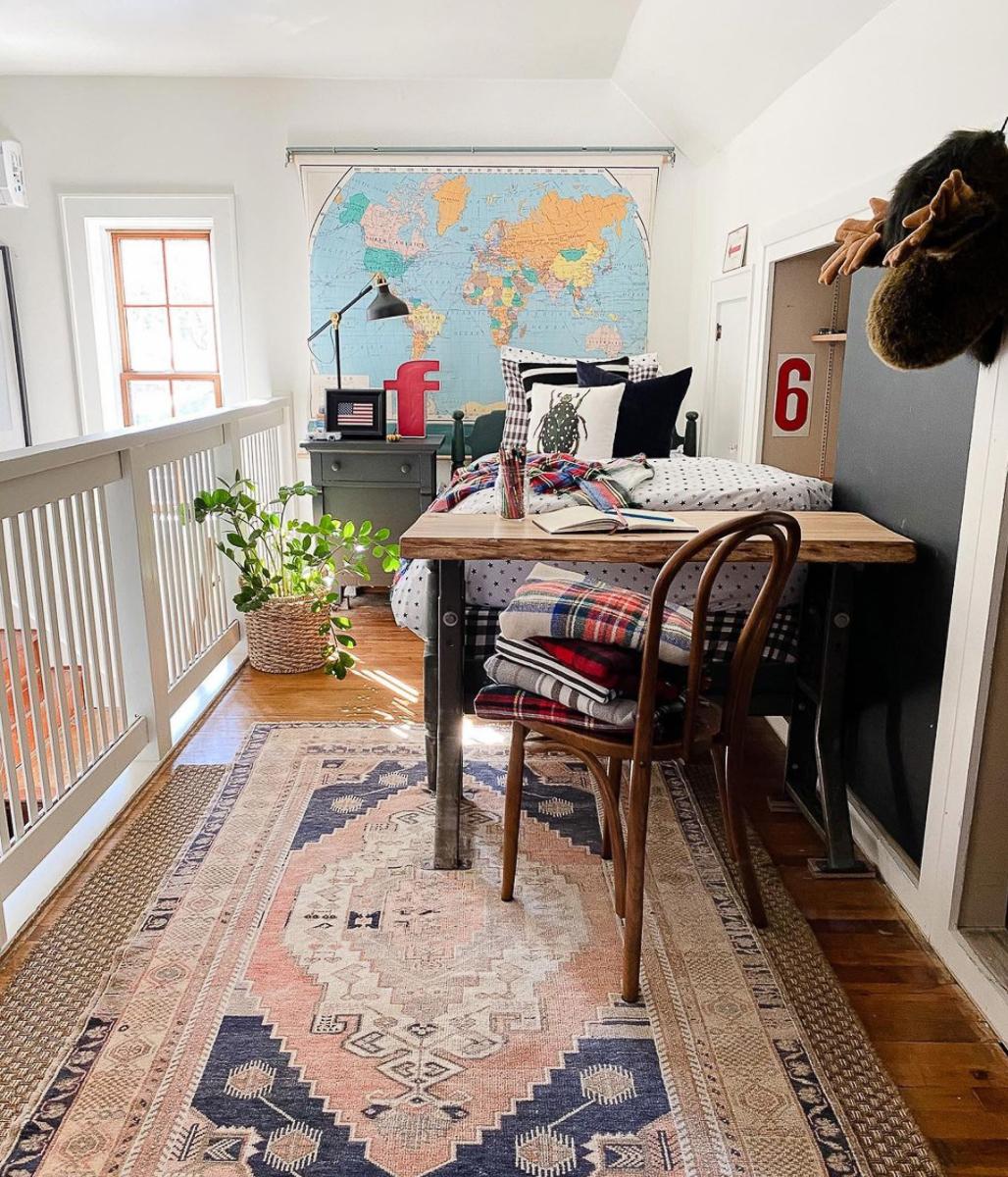 Cute vintage boys bedroom with pull down school map kellyelko.com