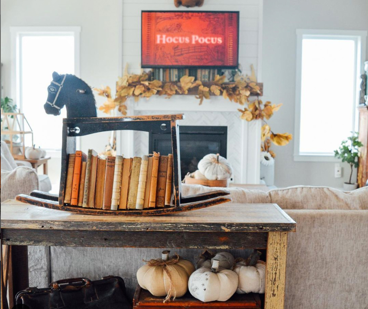 How cute is this vintage rocking horse turned book shelf! kellyelko.com