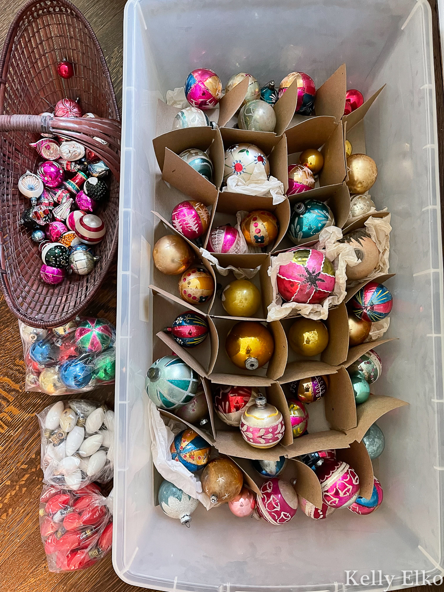 Look at this HUGE assortment of vintage Christmas ornaments she found! kellyelko.com